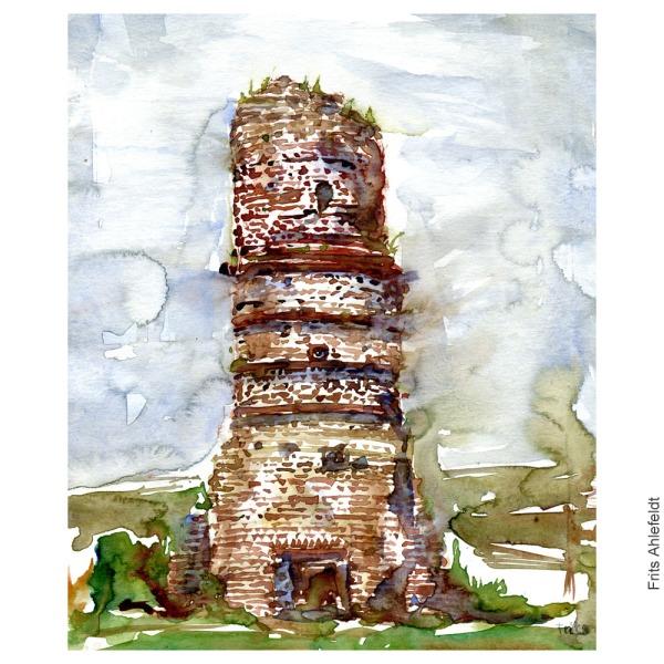 Skorsten Stevns klint - Boesdal. Akvarel af Frits Ahlefeldt