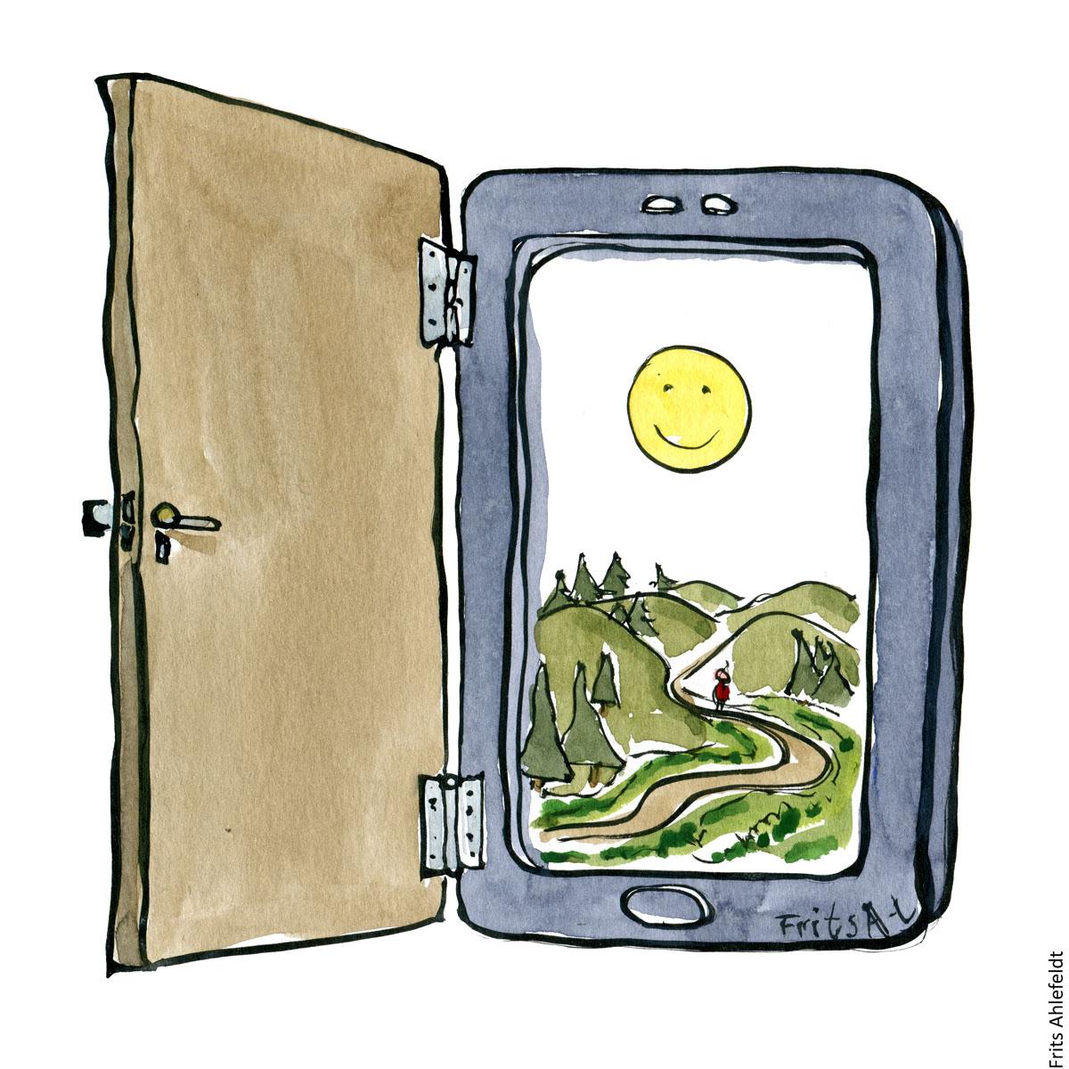 telefon med en sti på skærmen- Tegning af Frits Ahlefeldt
