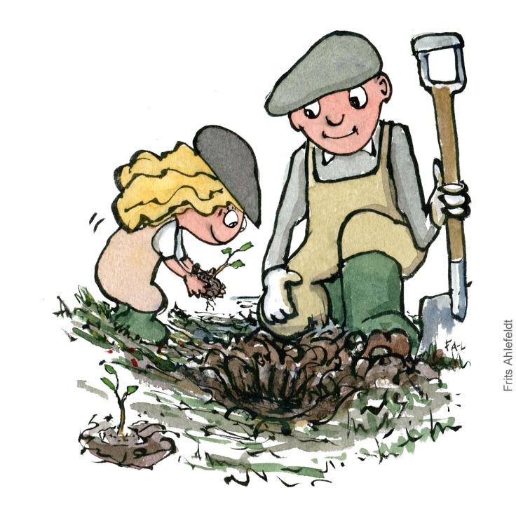 person som planter træ sammen med barn - Tegning af Frits Ahlefeldt