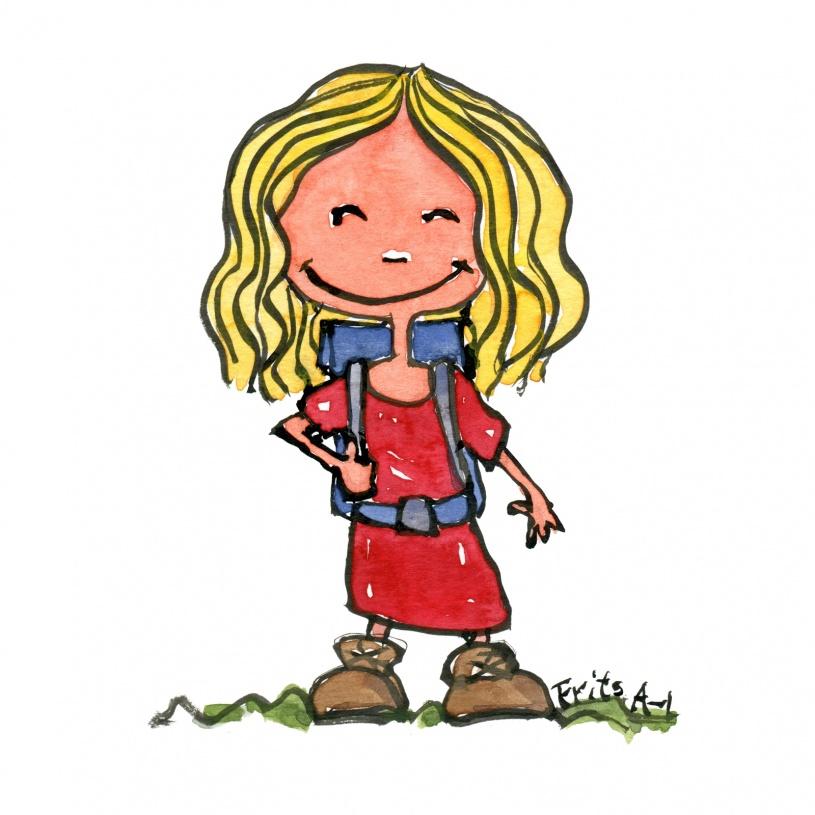 Lille pige med rygsæk