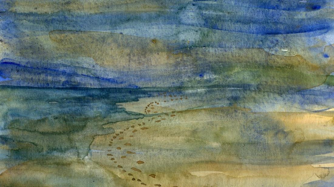 akvarel fra stranden