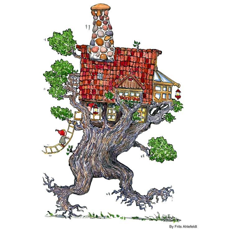 Trae som vandrer med et hus på toppen. Tegning af Frits Ahlefeldt
