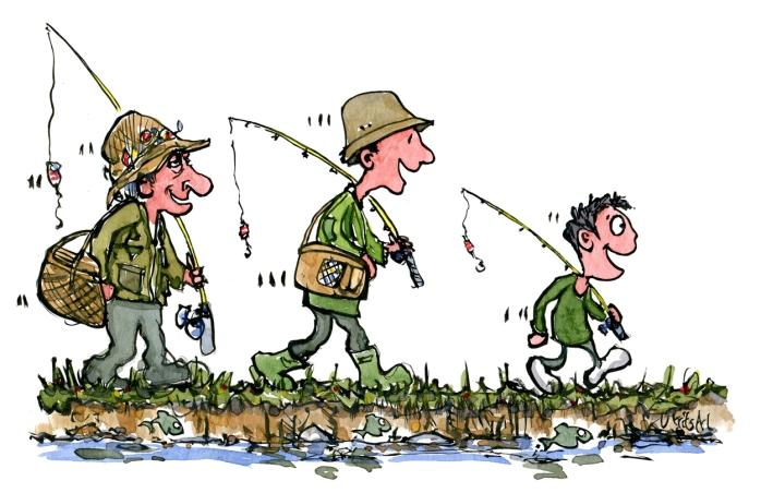 Tre fiskere, bedstefar, far og søn som går langs et vandløb sammen
