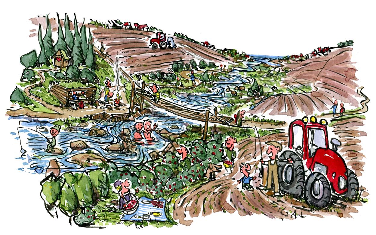 Tegning af et balanceret landskab med landbrug, natur og vandring