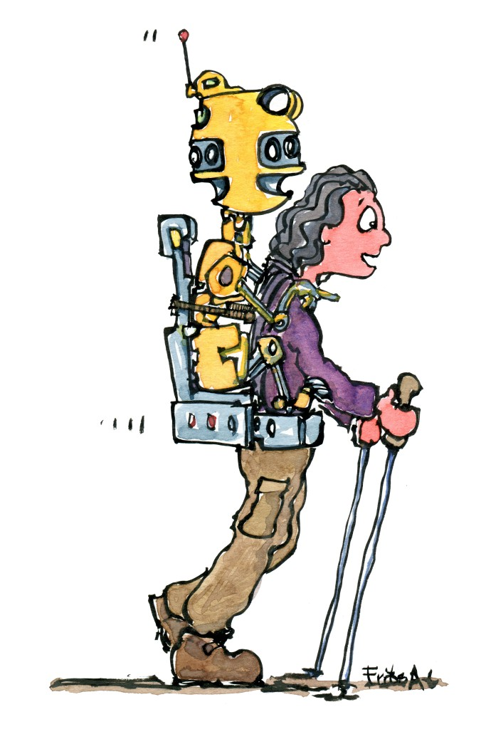 Teknologi illustration af vandrer med en gul robot på ryggen, der kigger i alle retninger. Tegning af Frits Ahlefeldt