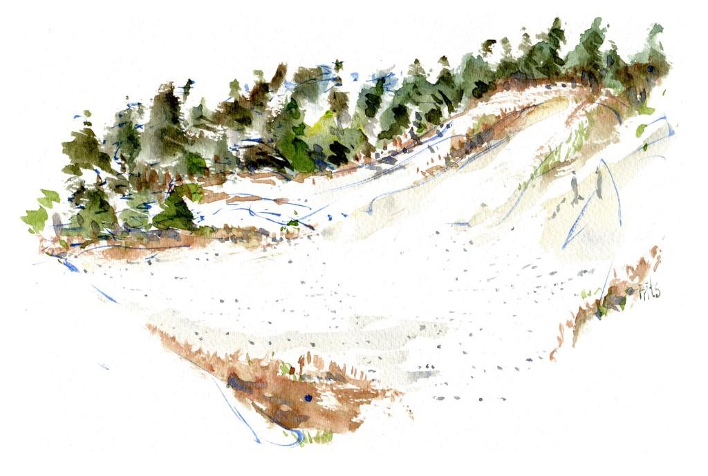 Akvarel af Dueodde sandklitter - illustration af Frits Ahlefeldt