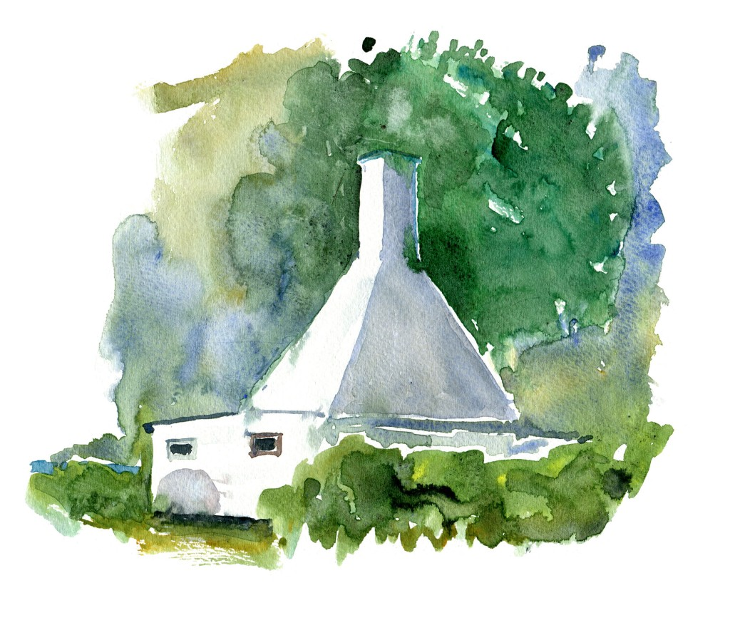 Røgeri Bornholm - Akvarel af Frits Ahlefeldt