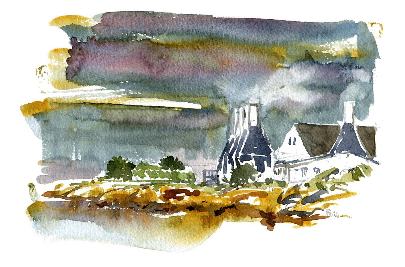 Akvarel af Røgerier i Svaneke - Illustration af Frits Ahlefeldt