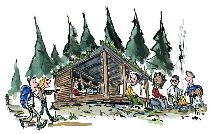 Tegning af to vandrere som kommer til et shelter. Illustration Frits Ahlefeldt