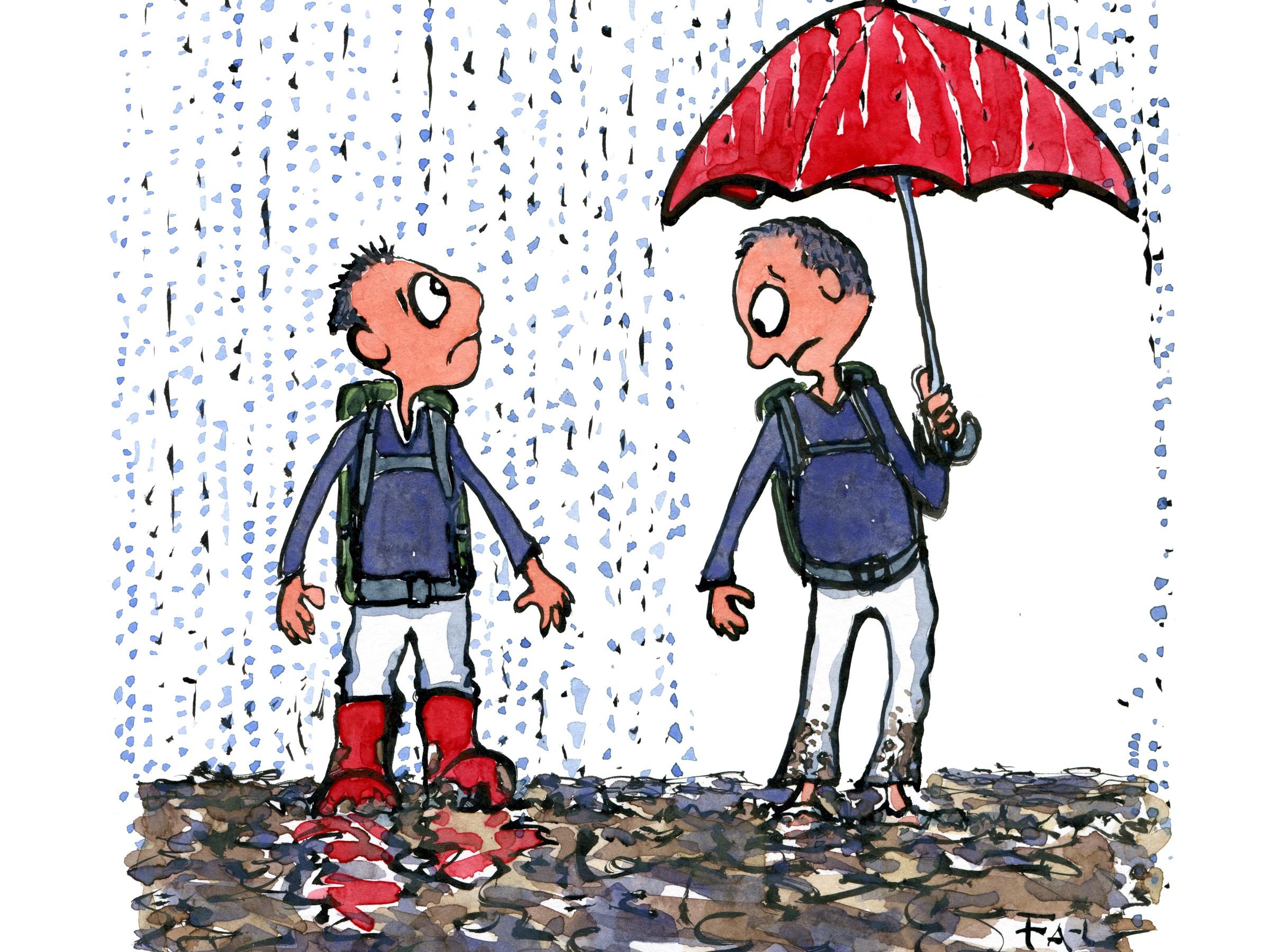 illustration af to vandrere i regnvejr og mudder, den ene med gummistøvler, den anden med paraply. Tegning af Frits Ahlefeldt