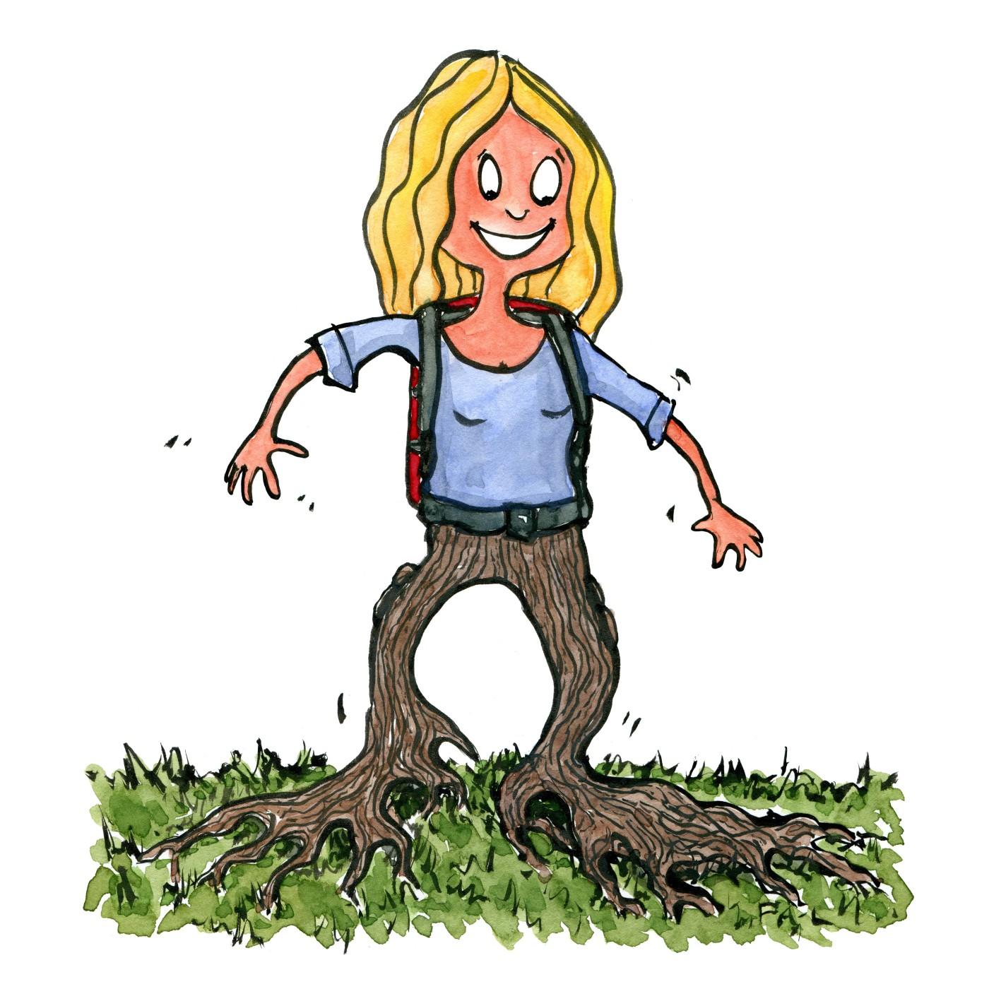 Tegning af kvinde med rygsæk og rødder istedet for ben. Tegning af Frits Ahlefeldt