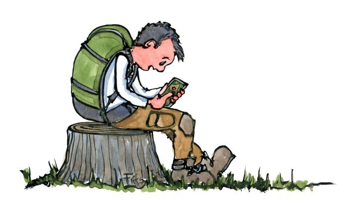 illustration af vandrer som sidder på træstub med smartphone og digitalt kort. Tegning af Frits Ahlefeldt