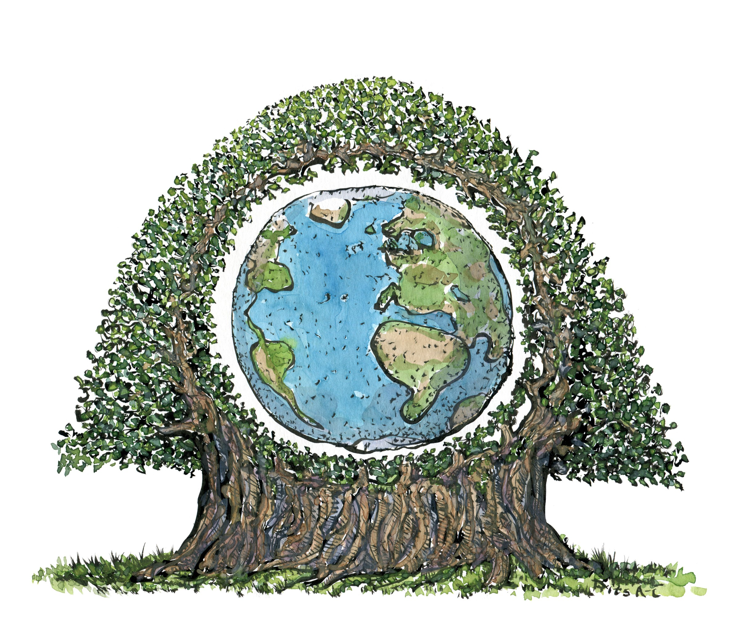 Tegning af jorden inde i et træ. Illustration Frits Ahlefeldt
