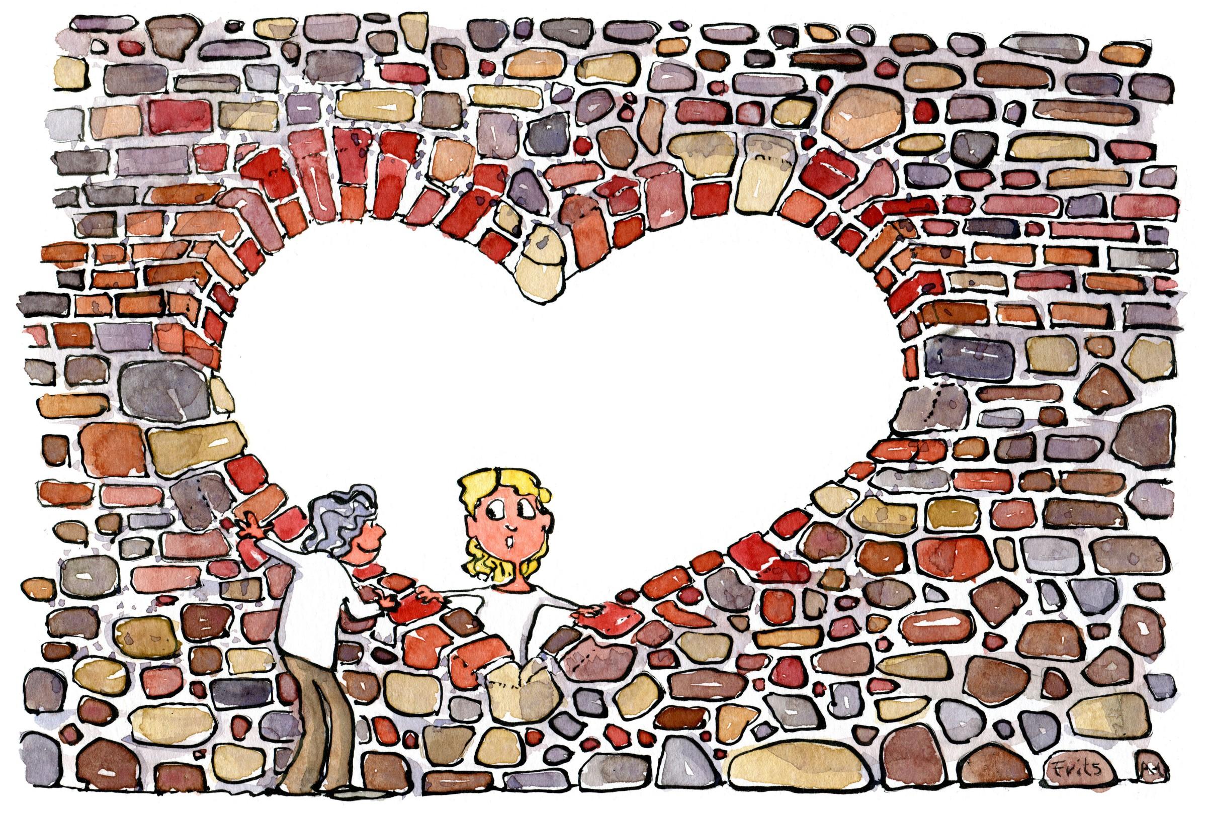 Hjerte hul i mur med ældre dame på den ene side og en yngre kvinde på den anden side. Illustration Frits Ahlefeldt