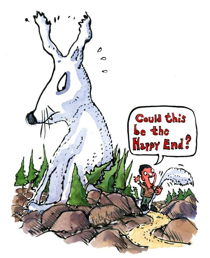Storytelling illustration af vandrer som har fået fat i halen på et hvidt mærkeligt kaninagtigt kæmpedyr. Tegning af Frits Ahlefeldt