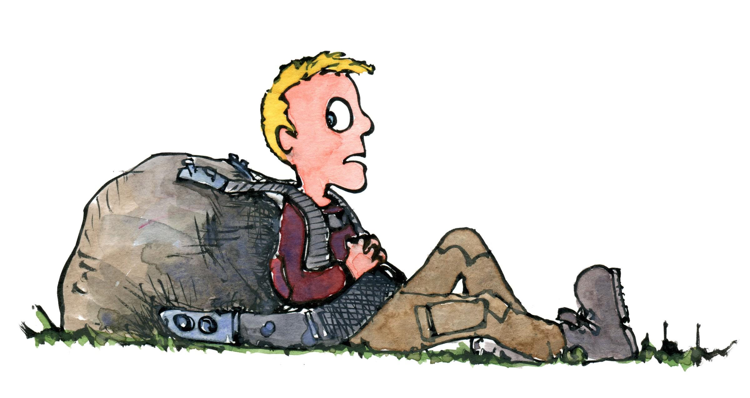 illustration af vandrer med tung stenrygsæk. Tegning af Frits Ahlefeldt