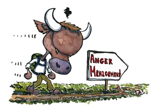 illustration vandrer som ligner en vred tyr, på vej mod anger management. Tegning af Frits Ahlefeldt