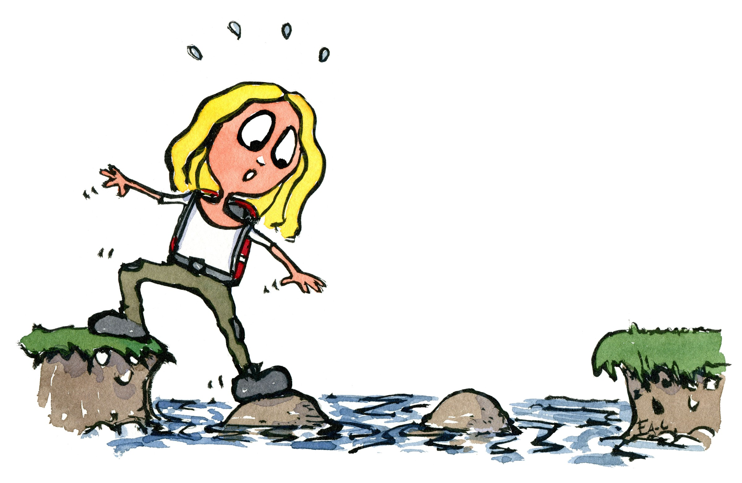Pige som skal over steppingstones for at komme til den anden bred. Tegning af Frits Ahlefeldt