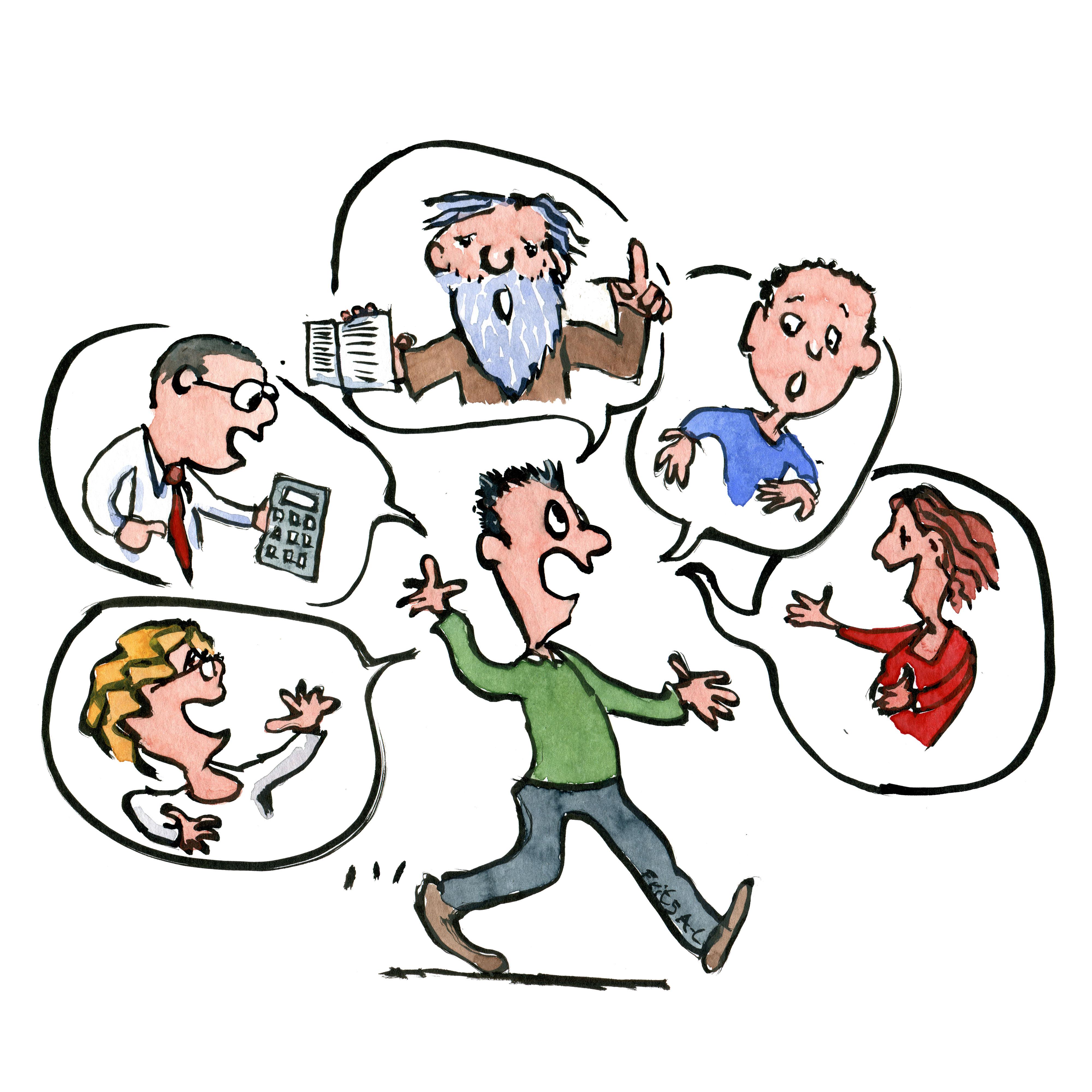 Mand som går mens han fører samtaler med en række mennesker i talebobler. Illustration Frits Ahlefeldt