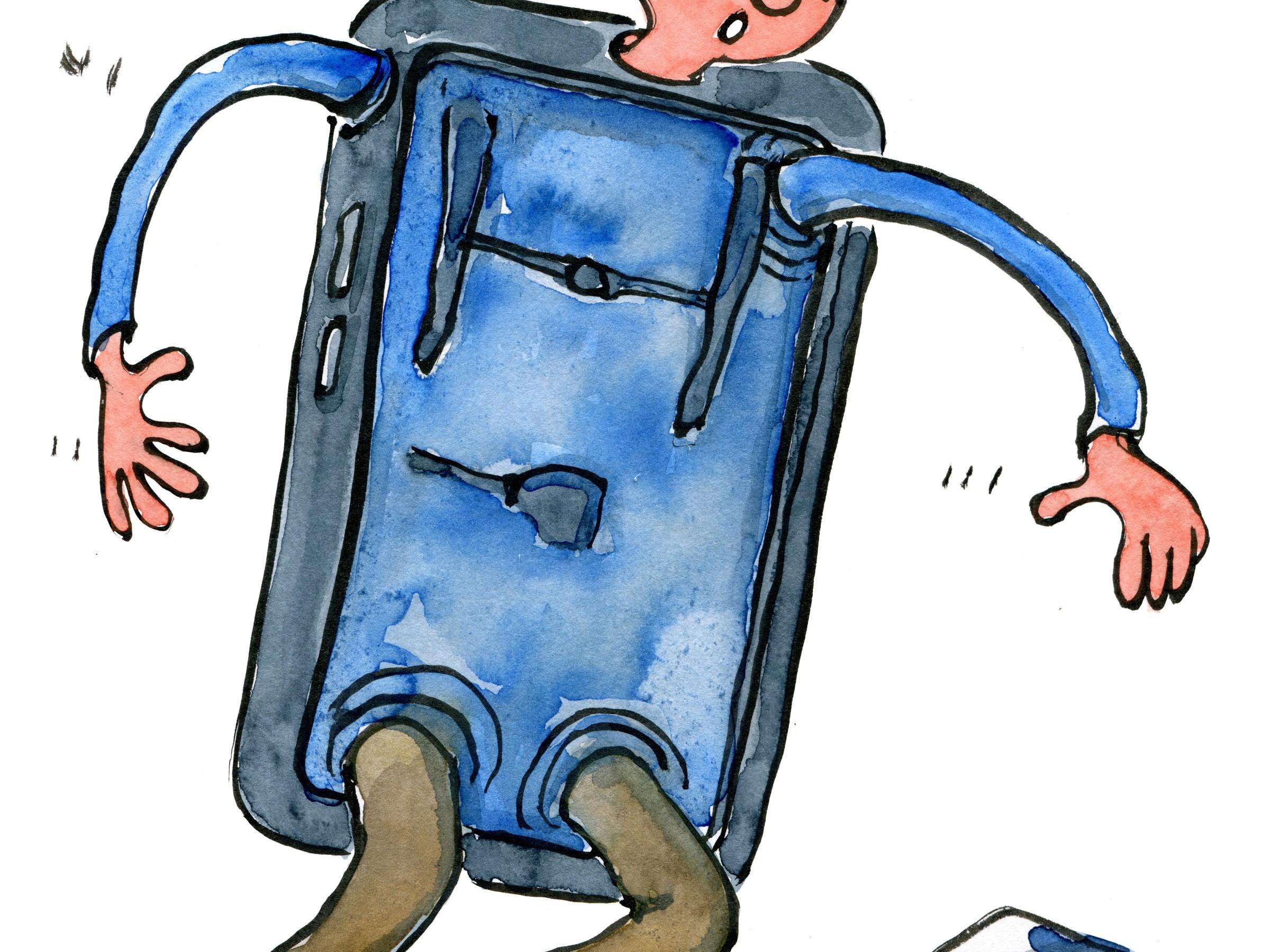 illustration af en vandrer der er halvt en smartphone. Tegning af Frits Ahlefeldt