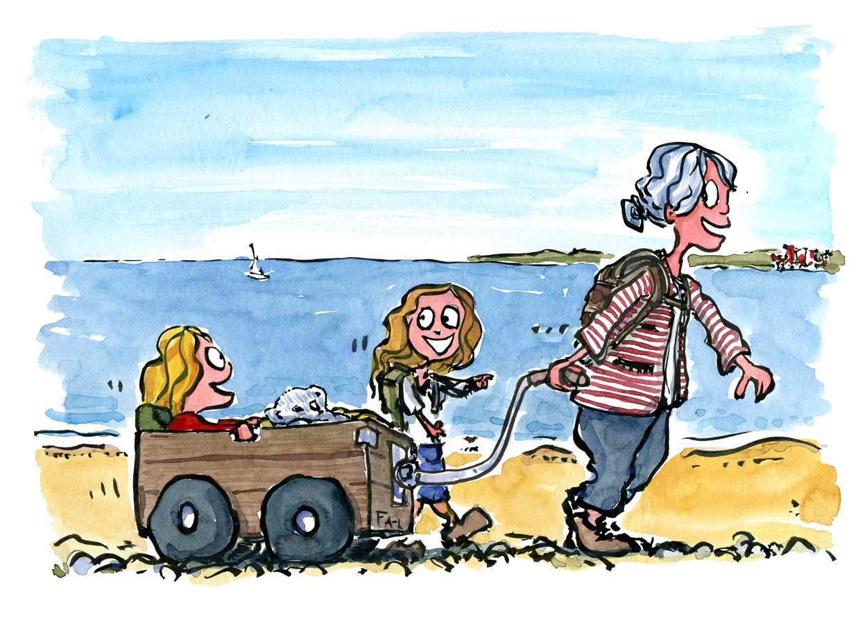 Bedstemor på vandretur med børnebørnene. Tegning af Frits Ahlefeldt
