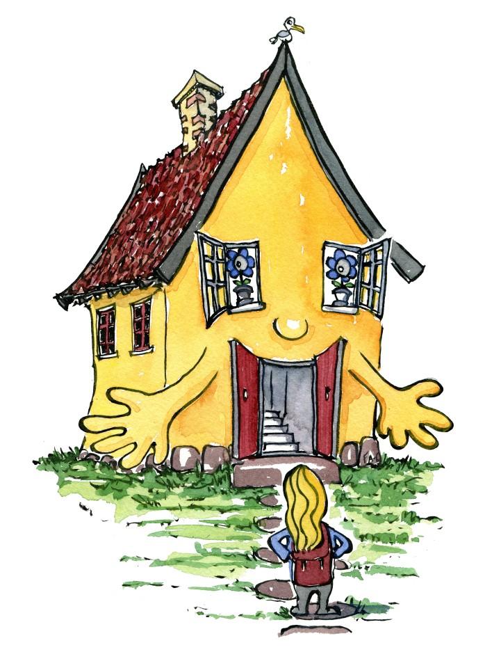 Vandrer som bliver modtaget af sit hus, tegning af Frits Ahlefeldt