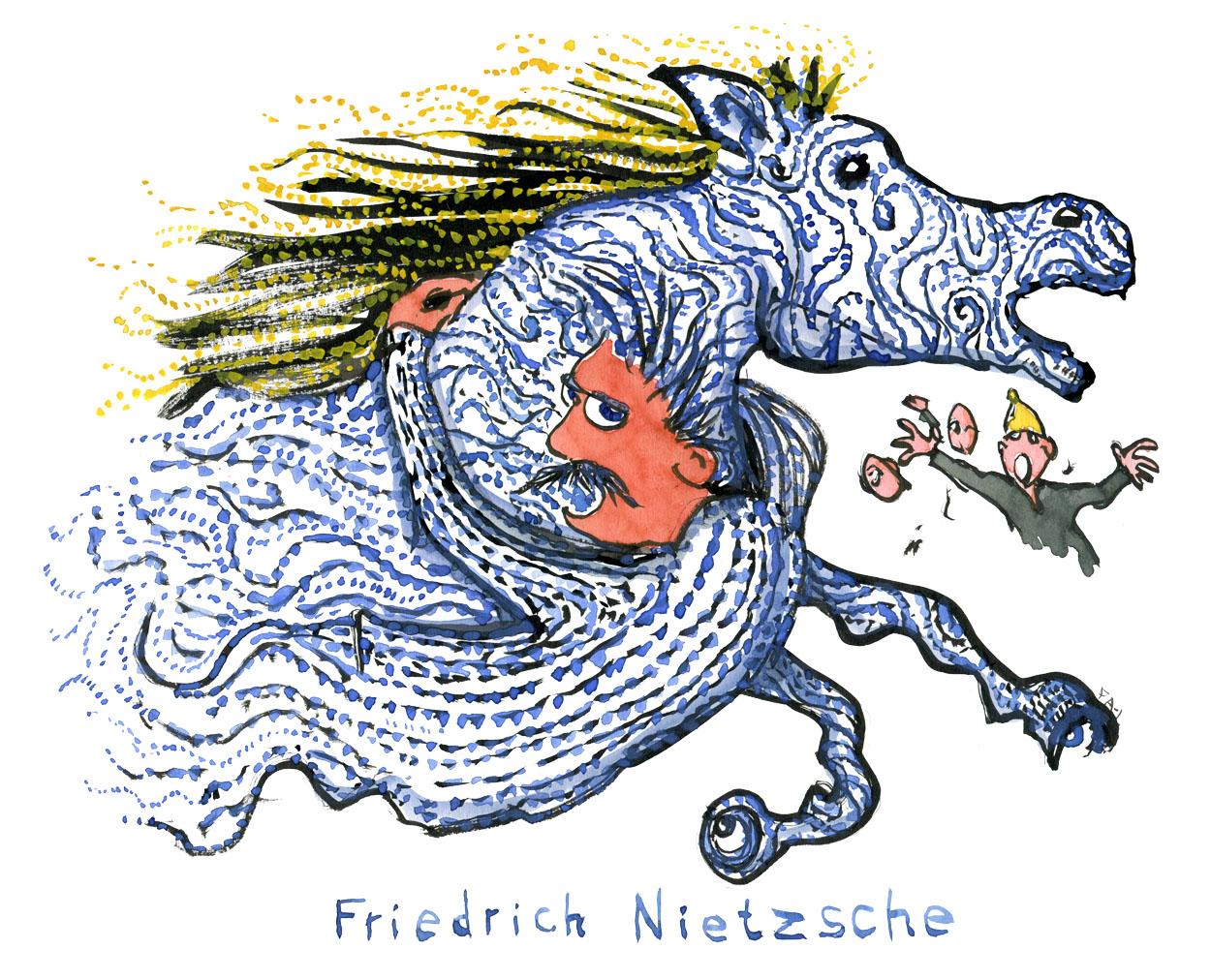 Tegning af Nietzsche der klynger sig til drømme-agtig blå hest. Illustration af Frits Ahlefeldt