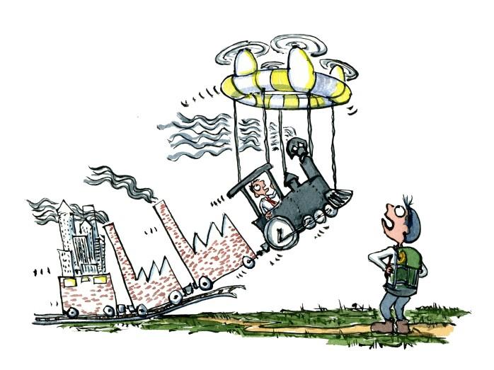 illustration af et damplokomotiv der bliver løftet af en drone. Tegning af Frits Ahlefeldt