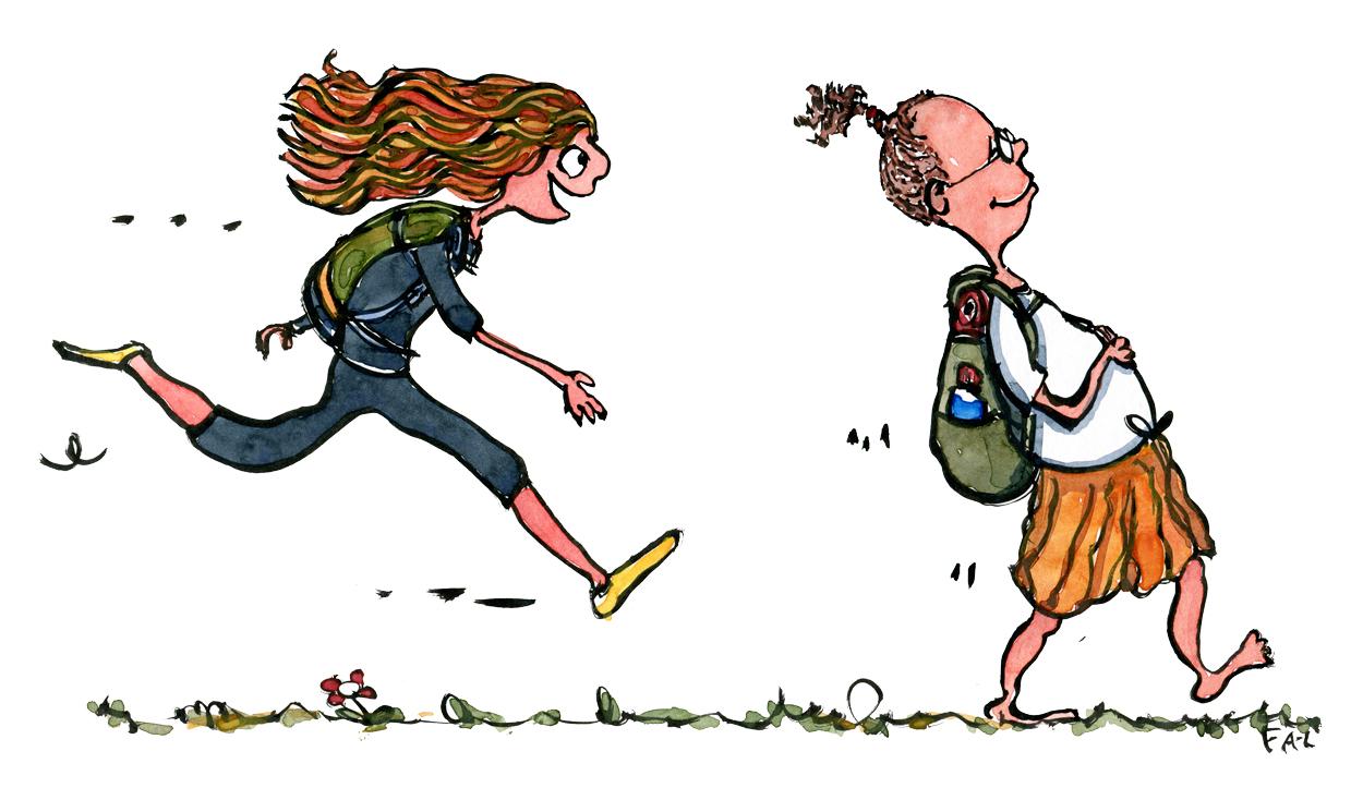 løbende pige med rygsæk som overhaler barfods fyr med rygsæk og hestehale. illustration af Frits Ahlefeldt