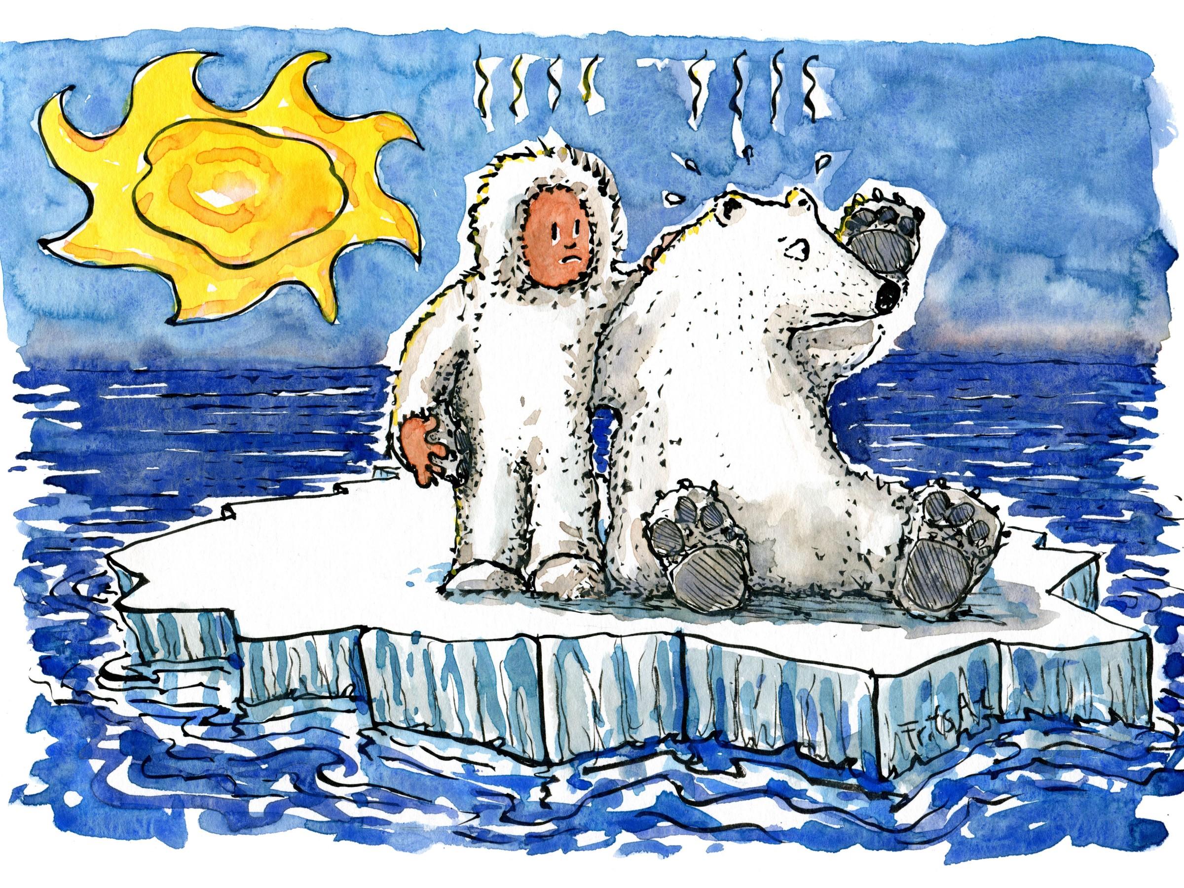 Tegning af isbjørn og mand på isflage på åbent hav. Tegning af Frits Ahlefeldt