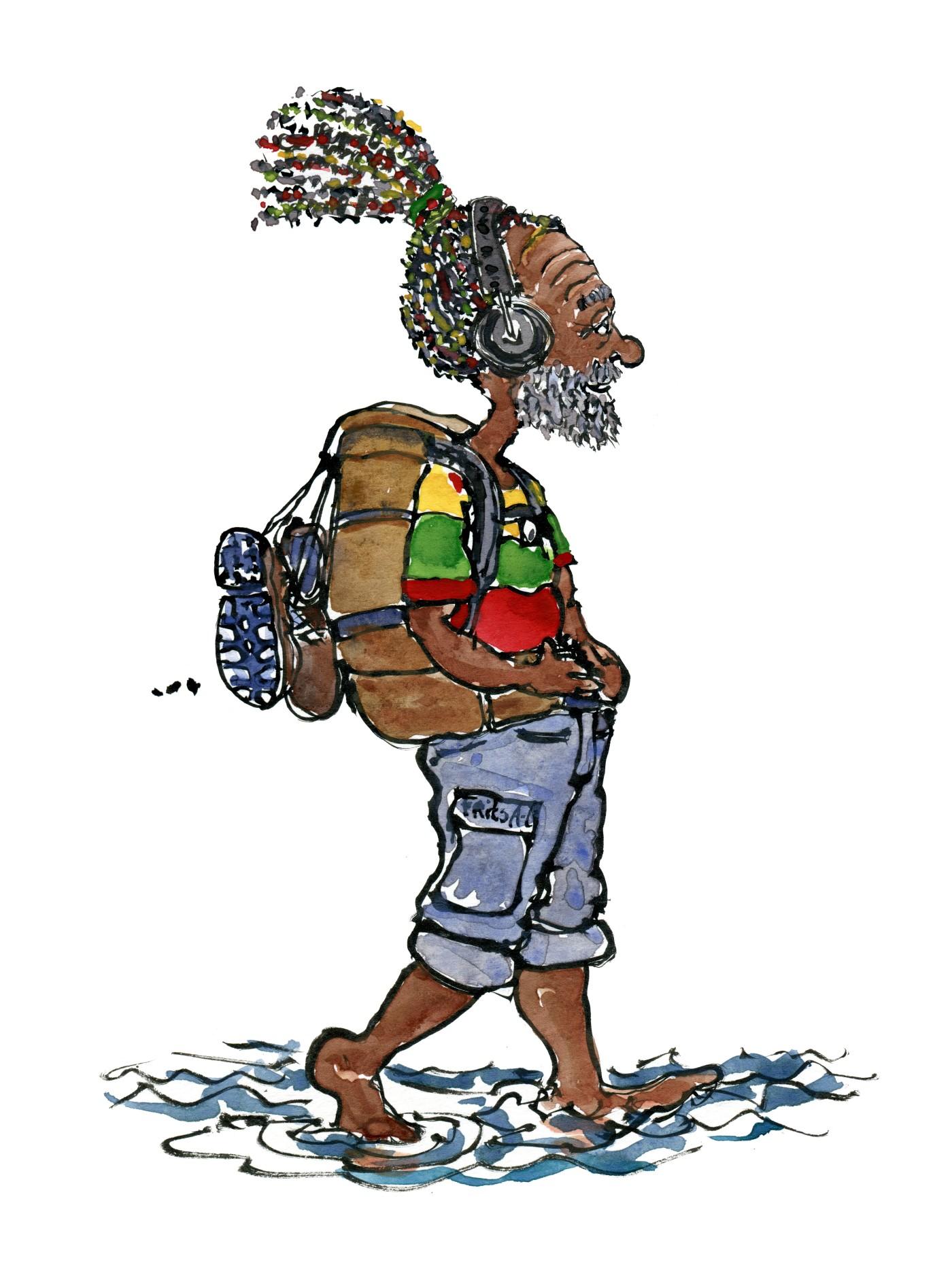 Illustration af rasta vandrer med hovedtelefoner og bare tæer i vandkanten. Tegning af Frits Ahlefeldt