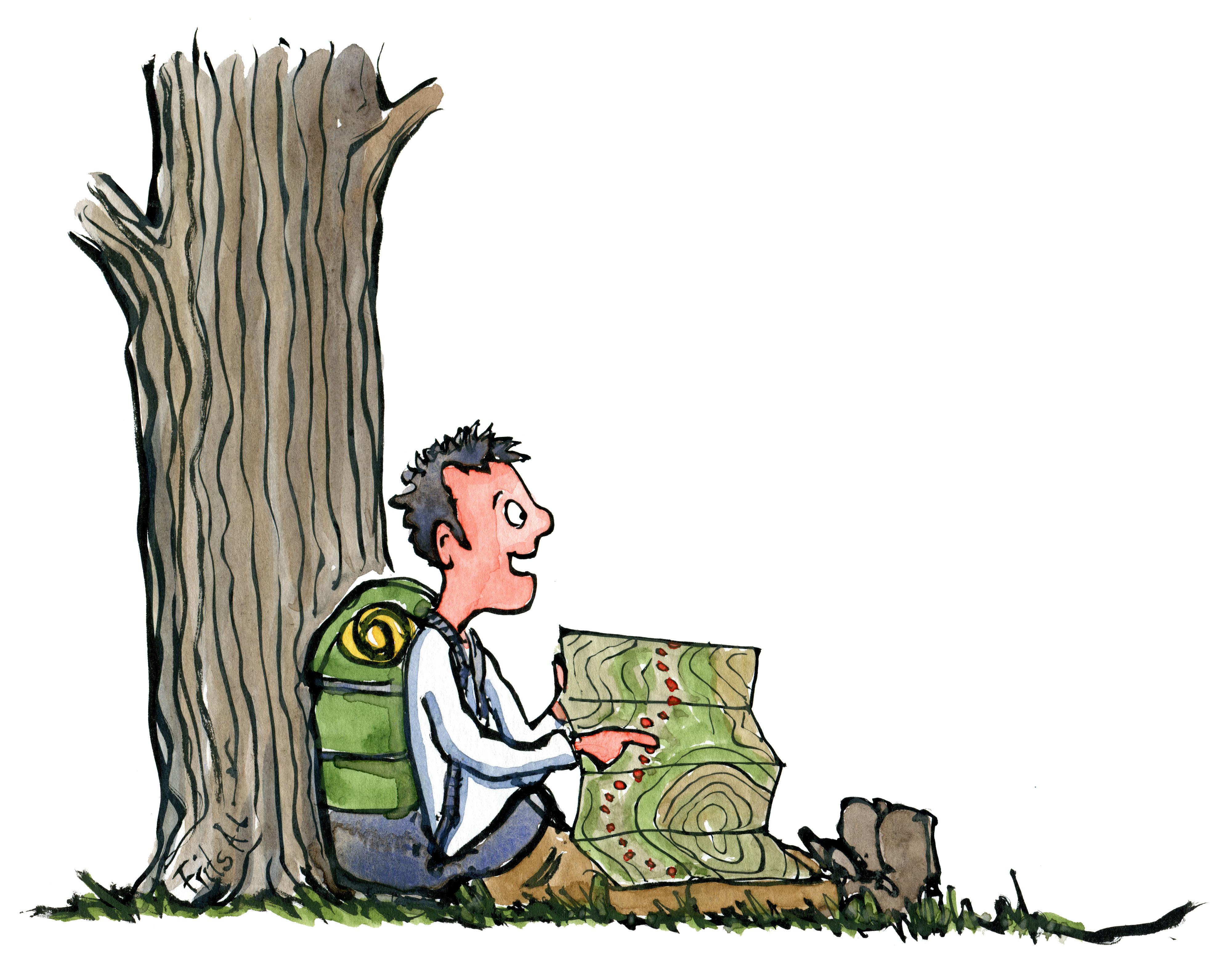 Vandrer med rygsæk der sidder med vandrekort ved træ. Tegning af Frits Ahlefeldt