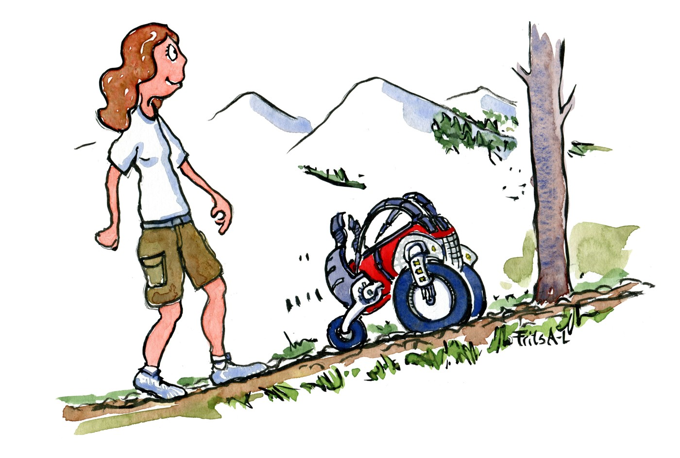 Illustration af vandrer der går med selvkørende rygsæk. Tegning af Frits Ahlefeldt