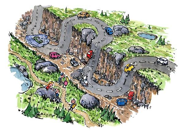 illustration af vandrere som går langs en sti ved siden af en kløft med biler som kører op og ned. Tegning af Frits Ahlefeldt