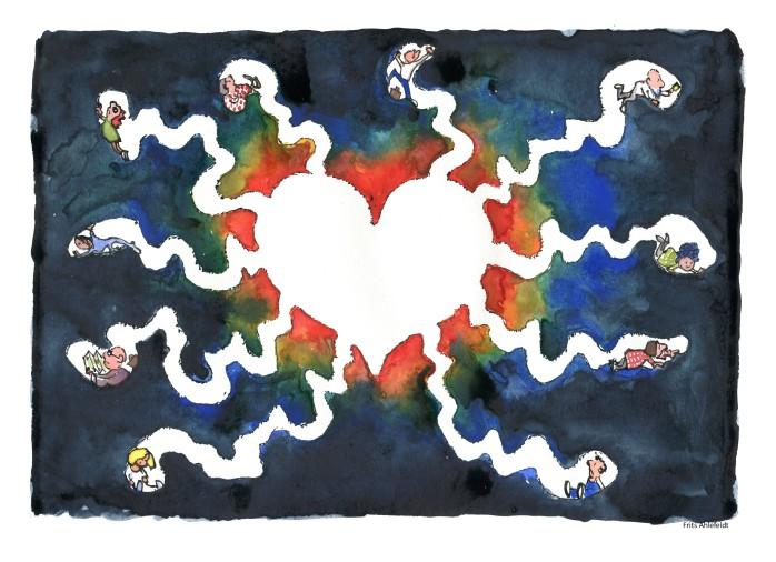 illustration af hjerte med små gange folk er kravlet væk igennem. Tegning af Frits Ahlefeldt