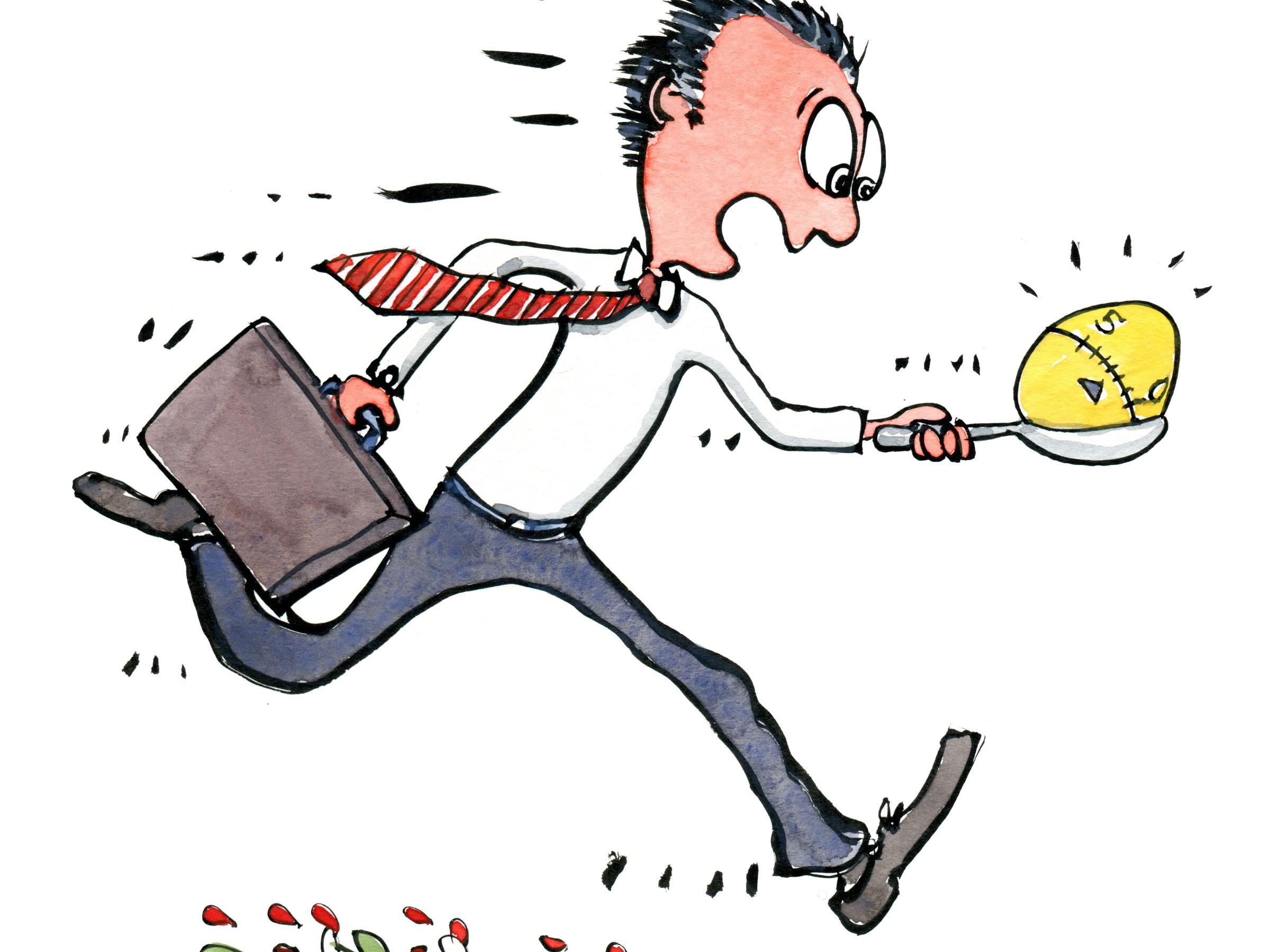 forretningsmand der løber med et æggeur på en ske. Tegning af Frits Ahlefeldt