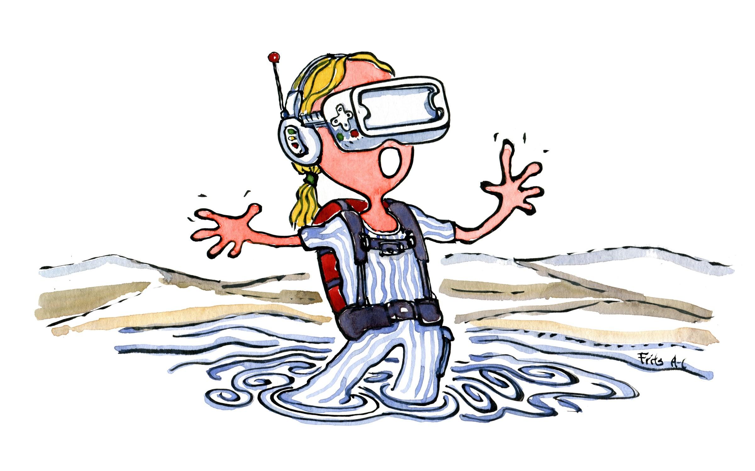 illustration af vandrer med Virtual Reality ( VR) headset. Tegning af Frits Ahlefeldt