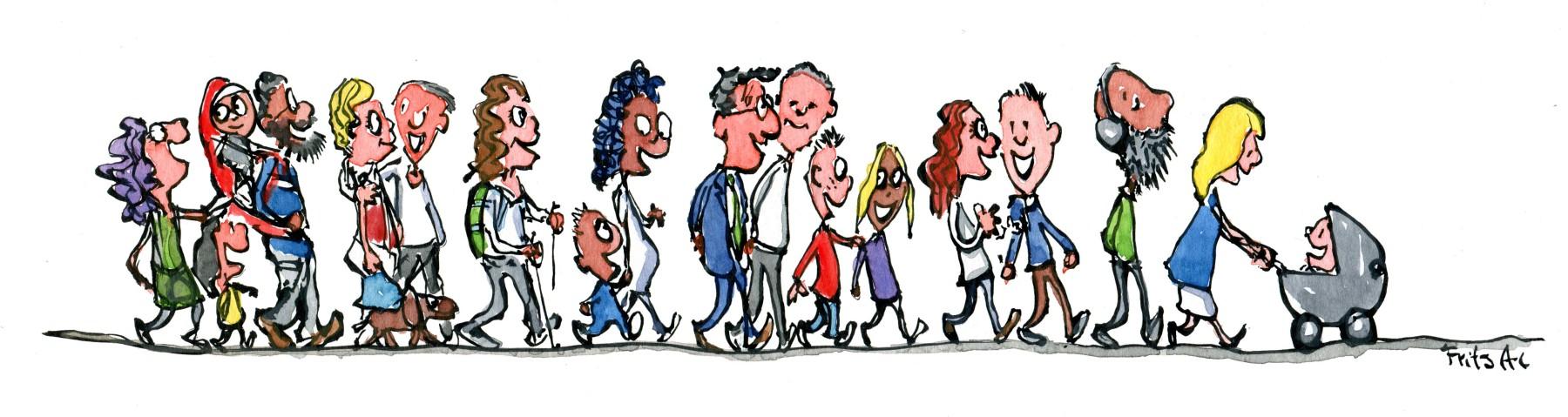 illustration af gruppe mennesker som går sammen. Tegning af Frits Ahlefeldt