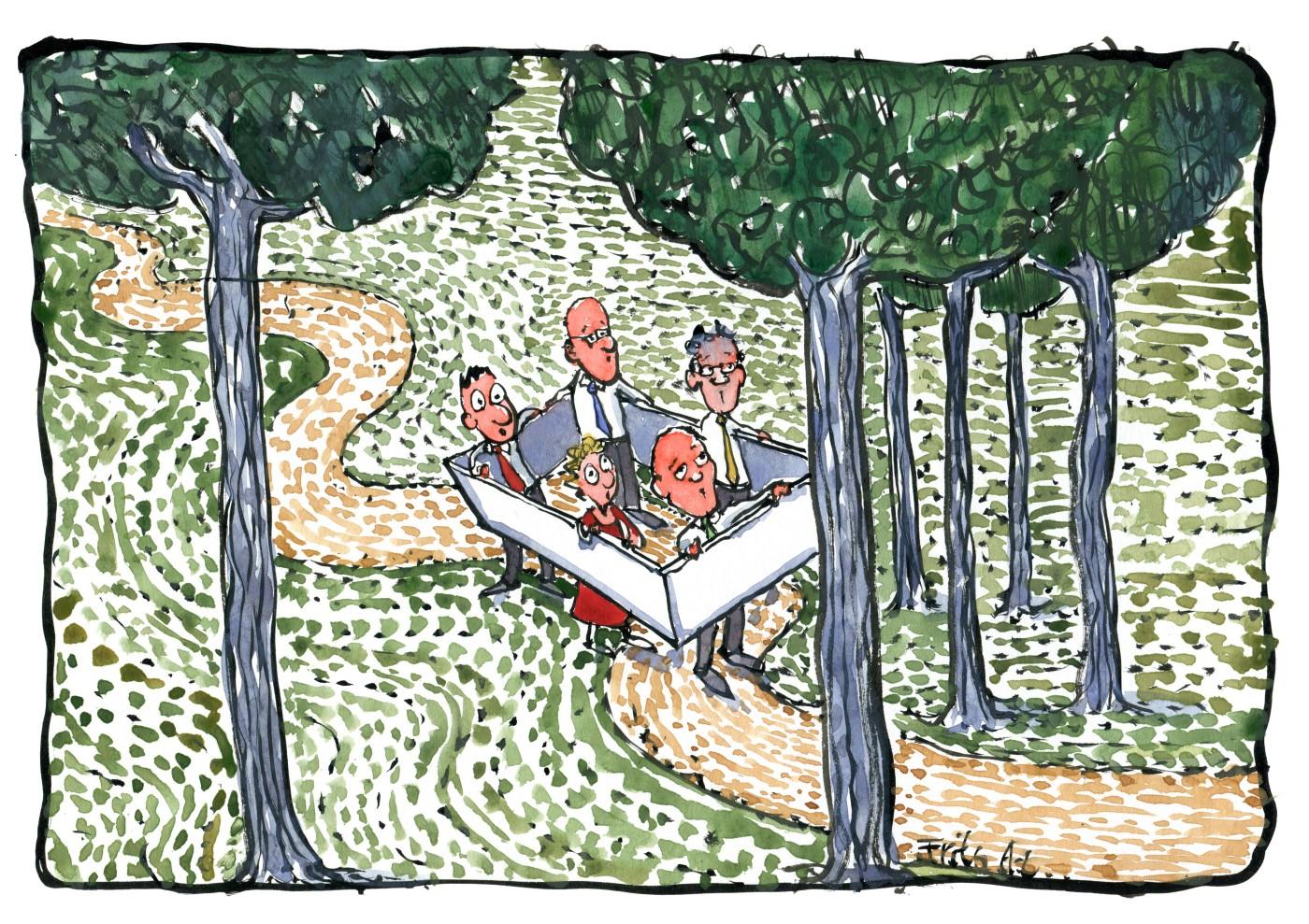 Illustration af en gruppe der går indeni en boks ude på en sti. Tegning af Frits Ahlefeldt