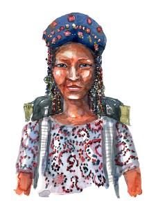 kvinde med hat - Akvarel af Frits Ahlefeldt, naturvandreserien