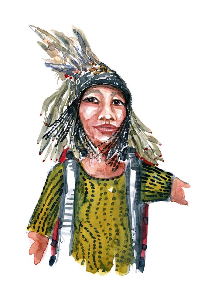 Kvinde med fjerhat Akvarel af Frits Ahlefeldt, naturvandreserien