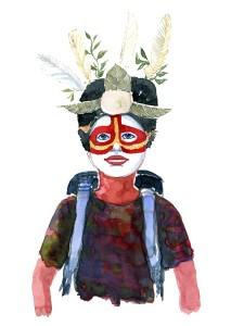 person med rygsæk, malet i ansigtet. Akvarel af Frits Ahlefeldt, naturvandreserien