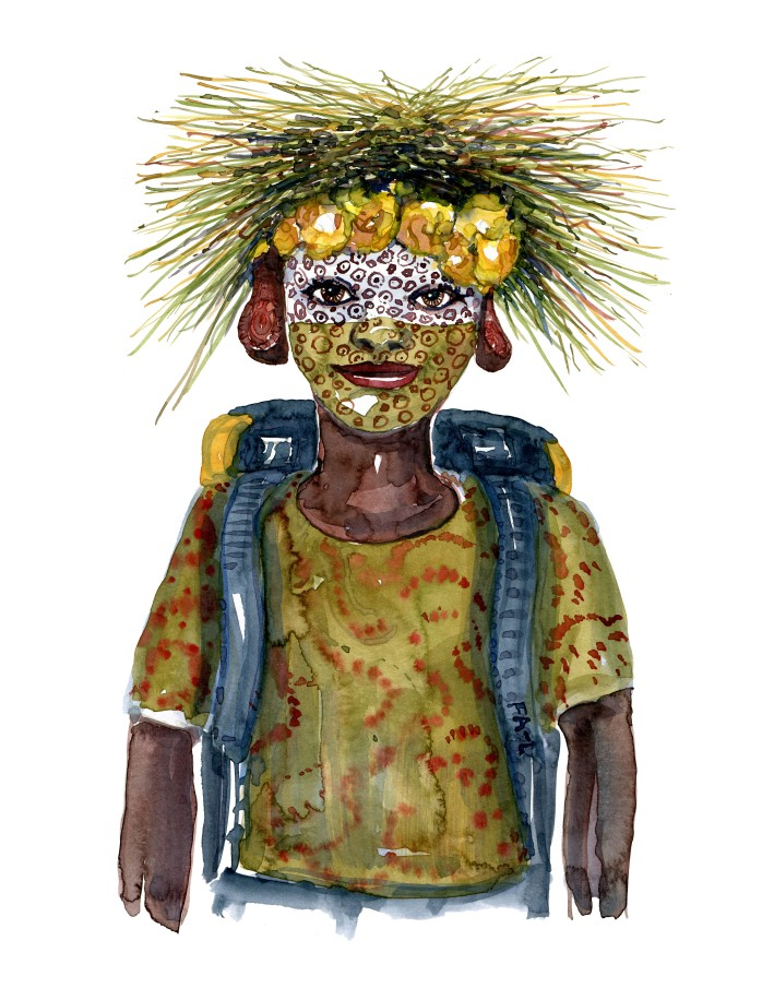 Kvinde med hovedbeklædning lavet af strå. Akvarel af Frits Ahlefeldt, naturvandreserien