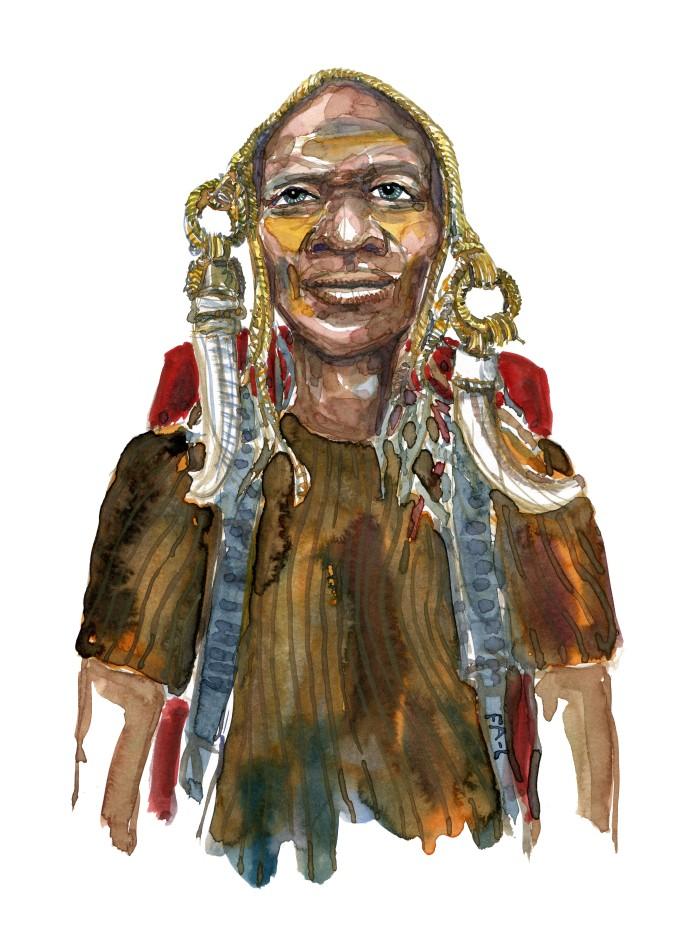 Mand med hovedbeklædning og ringe af horn. Akvarel af Frits Ahlefeldt, naturvandreserien