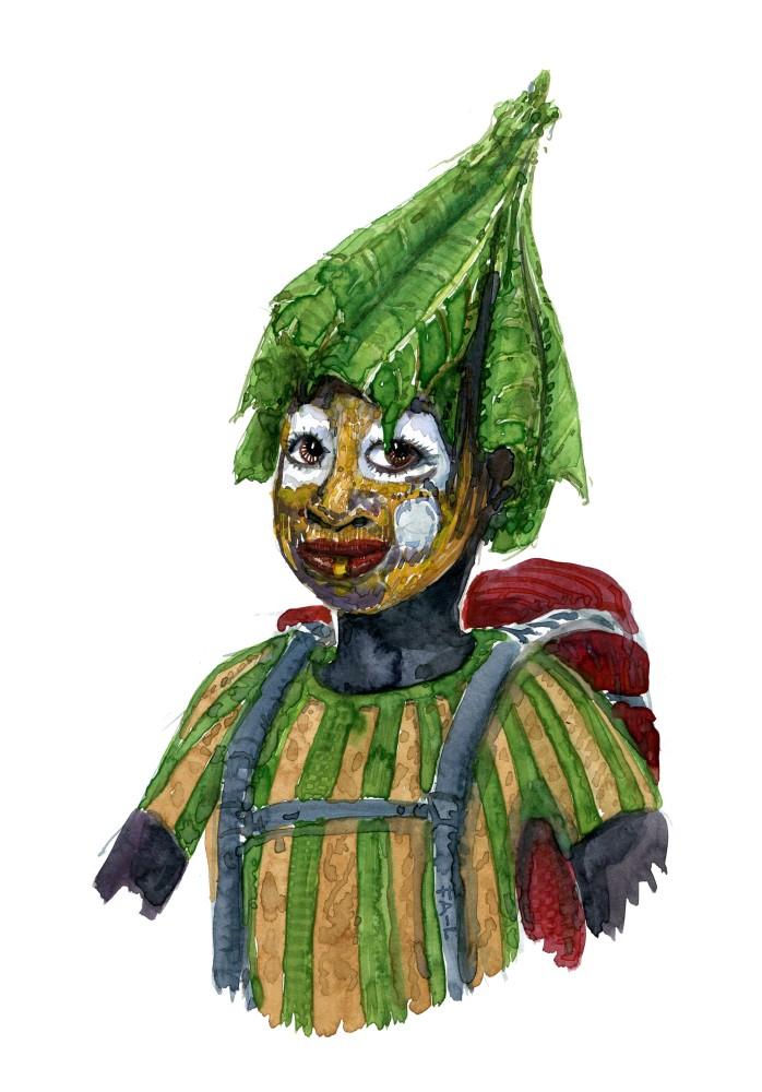Kvinde med rygsæk og hat af blade. Akvarel af Frits Ahlefeldt, naturvandreserien
