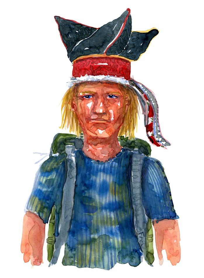 Lyshåret mand med traditionel hovedbeklædning. Akvarel af Frits Ahlefeldt, naturvandreserien