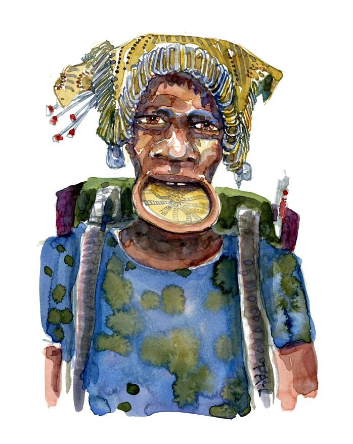 Mand med metalhat. Akvarel af Frits Ahlefeldt, naturvandreserien