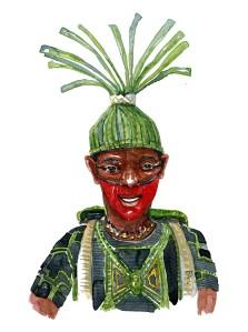 Mand med hat af blade og rygsæk. Akvarel af Frits Ahlefeldt, naturvandreserien