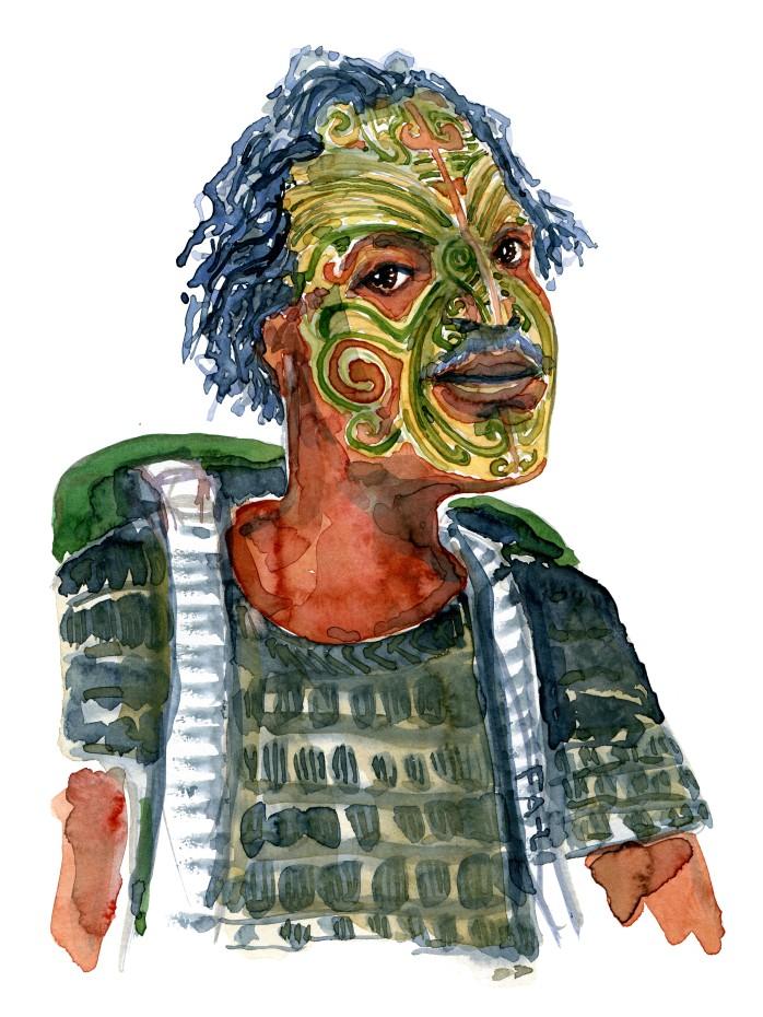 Mand med rygsæk og ansigtet malet. Akvarel af Frits Ahlefeldt, naturvandreserien