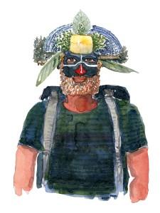 Mand med rygsæk og to fjer. Akvarel af Frits Ahlefeldt, naturvandreserien